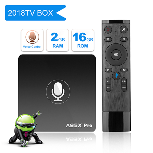 YAGALA A95X Pro Android TV BOX with Voice Control Android 7.1 2GB DDR3 16GB eMMC Wifi HDMI Ethernet HD Player