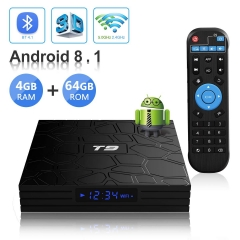 Android TV BOX,T9 Android 8.1 TV BOX 4GB RAM/64GB ROM RK3328 Quad-Core 64 Bits Supporto 2.4Ghz/5.0Ghz WiFi Bluetooth 4.1 DLNA 3D 4K HDMI H.265 Smart T