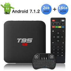 TV Box Android 7.1 TV Box con Wireless Mini tastiera/ 2GB RAM 16GB ROM/S905W Quad-core cortex-A53/ Video 4K UHD H.265/3D/2.4GHz WiFi T95 S1 Smart TV B