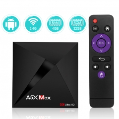 Android TV Box Sidiwen A5X MAX 4GB RAM 32GB ROM RK3328 Quad Core 64 Bit Processor Support 2.4G WiFi 3D 4K Ultra HD Bluetooth 4.1 Ethernet USB 3.0