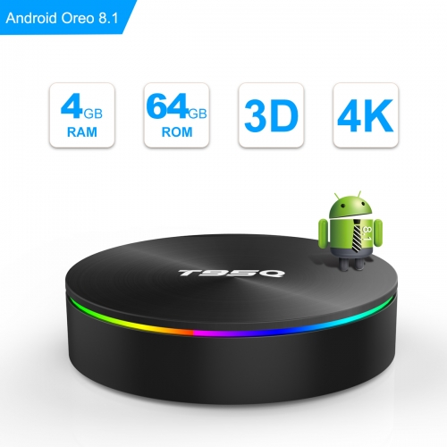Android TV Box, Android Box 8.1 S905X2 Quad-core Cortex-A53 with 4GB RAM 64GB ROM Support 2.4G/5G WiFi/H.265 Decoding/4K Full HD Output/ HDMI3.0/ 1000