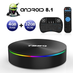 Android TV Box, T95Q Android 8.1 4GB RAM/32GB ROM Amlogic S905X2 Quad Core TV Box Support 5.0 GHz WiFi Bluetooth 4.1 DLNA Mini TV BOX with Wireless Mi