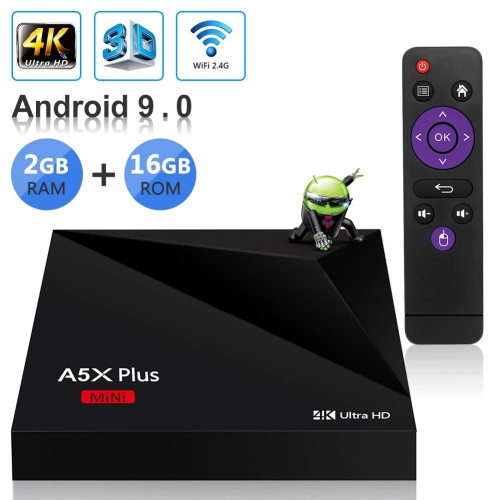 Sidiwen Android 9.0 TV Box A5X Plus Mini Smart Media Player 2GB RAM 16GB ROM Rockchip RK3328 Quad Core Support 3D 4K Ultra HD H.265 HEVC WIFI 2.4G Eth
