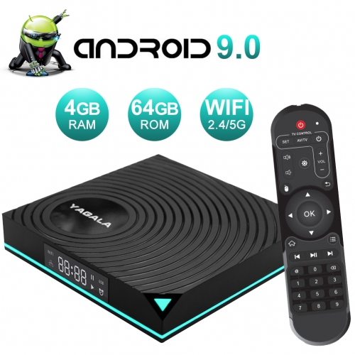 Android 9.0 TV Box YAGALA Y1 4GB RAM 32GB ROM Rockchip RK3318 Quad Core Smart Media Player Support 3D 4K Ultra HD H.265 HEVC Dual Band WIFI 2.4G/5.0G