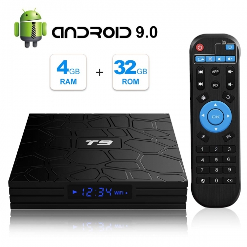 Android TV Box, T9 Android 9.0 TV BOX 4GB RAM/32GB ROM RK3318 Quad-Core Media Box Soporte 2.4GHz/5.0GHz WiFi 64 bits H.265 Bluetooth 4.0 DLNA UHD 4K M