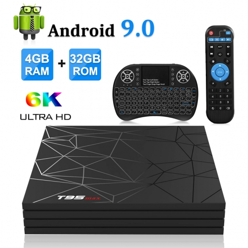 T95 MAX Android 9.0 TV Box 4GB DDR3 RAM 32GB ROM Allwinner H6 Quad-core Support WiFi 2.4Ghz/6K/H.265 Smart TV Box with Backlit Mini Wireless Keyboard