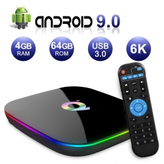Android TV BOX,Q PLUS Android 9.0 TV BOX 4GB RAM/64GB ROM H6 Quad-Core Supporto 2.4Ghz WiFi 6K HDMI DLNA 3D Smart TV BOX