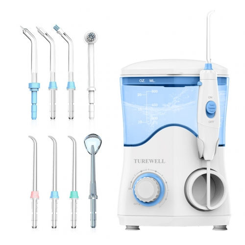 Water Flosser Electric Dental Countertop Oral Irrigator, 600ML Water Tank 10 Pressure Settings 8 Jet Tips Water Flossing for Home Daily-Use