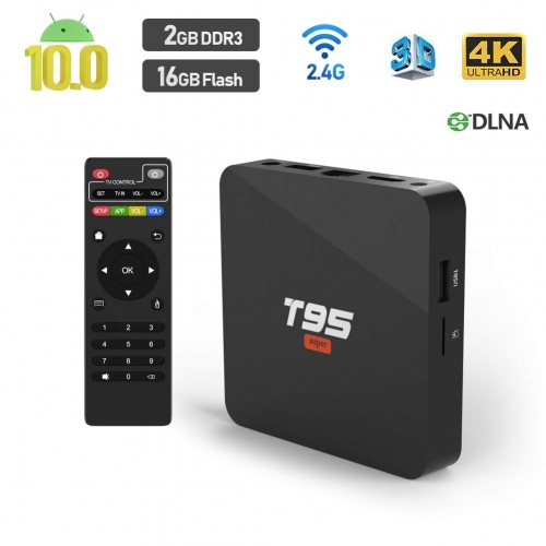 Android TV Box 10.0, Sidiwen T95 Super TV Box 2GB DDR3 16GB eMMC Allwinner H3 Quad-Core Support WiFi 2.4GHz 3D 4K Android Box