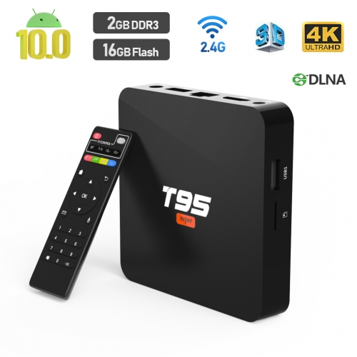 2020 Android TV Box, T95 SUPER Android 10 Box 2GB RAM 16GB ROM with Quad-Core CPU Support WiFi 2.4GHz 3D 4K/H.265 Smart TV Box