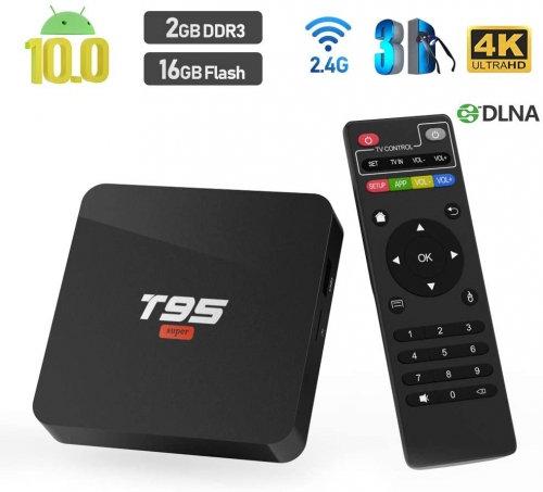Android 10.0 TV BOX,T95 SUPER TV BOX 2GB RAM/16GB ROM Allwinner H3 Quad-Core Support WIFI/Ethernet 4K HDMI