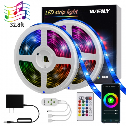 WiFi LED Strip Lights 32.8FT, Music Sync Smart APP Control RGB LED Light Strip Compatible with Alexa,Google Home,Waterproof
